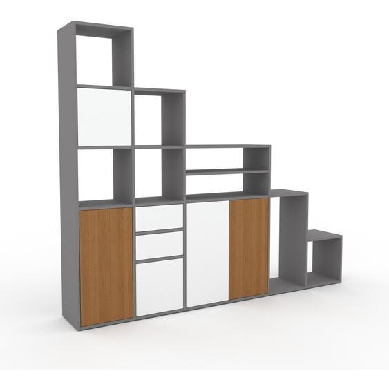 Regalsystem Weiß - Regalsystem: Schubladen in Weiß & Türen in Weiß - Hochwertige Materialien - 231 x 195 x 35 cm, konfigurierbar