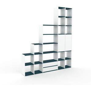 Regalsystem Weiß - Regalsystem: Schubladen in Weiß & Türen in Weiß - Hochwertige Materialien - 231 x 272 x 35 cm, konfigurierbar
