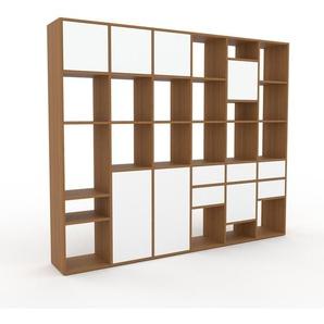 Regalsystem Eiche - Regalsystem: Schubladen in Weiß & Türen in Weiß - Hochwertige Materialien - 233 x 195 x 35 cm, konfigurierbar