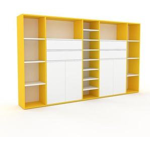 Regalsystem Gelb - Regalsystem: Schubladen in Weiß & Türen in Weiß - Hochwertige Materialien - 267 x 157 x 35 cm, konfigurierbar