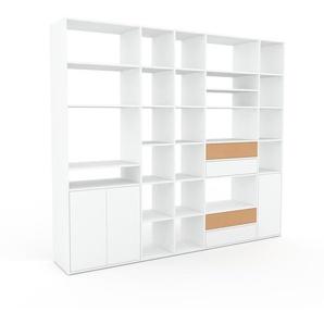 Regalsystem Weiß - Regalsystem: Schubladen in Weiß & Türen in Weiß - Hochwertige Materialien - 267 x 233 x 47 cm, konfigurierbar