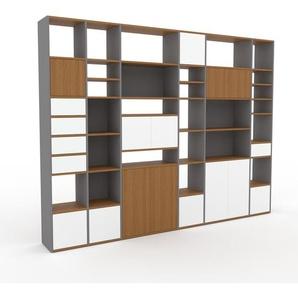 Regalsystem Grau - Regalsystem: Schubladen in Weiß & Türen in Weiß - Hochwertige Materialien - 306 x 233 x 35 cm, konfigurierbar