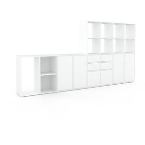 Regalsystem Weiß - Regalsystem: Schubladen in Weiß & Türen in Weiß - Hochwertige Materialien - 310 x 157 x 35 cm, konfigurierbar