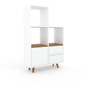 Regalsystem Weiß - Regalsystem: Schubladen in Weiß & Türen in Weiß - Hochwertige Materialien - 79 x 130 x 35 cm, konfigurierbar