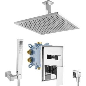 Regendusche Duschsystem Grundkörper Unterputz Armatur eckig Chrom - PAULGURKES