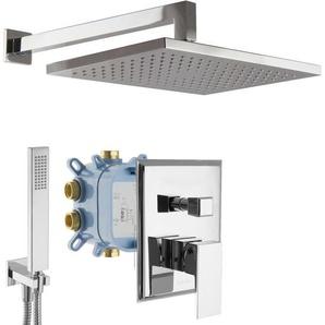 Regendusche Duschsystem mit Box Unterputz Duscharmatur eckig Chrom - PAULGURKES