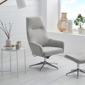 Relax Sessel in hellgrauem Webstoff inkl. Hocker, Fernsehsessel, drehbar, höhenverstellbar, verchromtes Gestell, Sessel Maß: B/H/T ca. 74/113/70 cm