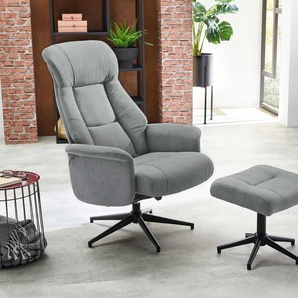 Relax Sessel in hellgrauem Webstoff inkl. Hocker, Fernsehsessel, drehbar, Sessel Maße: B/H/T ca. 77/106/85 cm