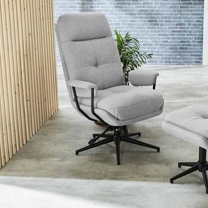 Relax Sessel in hellgrauem Webstoff inkl. Hocker, Fernsehsessel, drehbar, Sessel Maße: B/H/T ca. 78/102/85 cm
