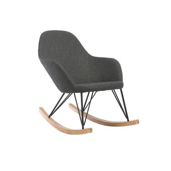 Relax-Sessel - Schaukelstuhl Stoff Anthrazitgrau Füße Metall und Esche JHENE