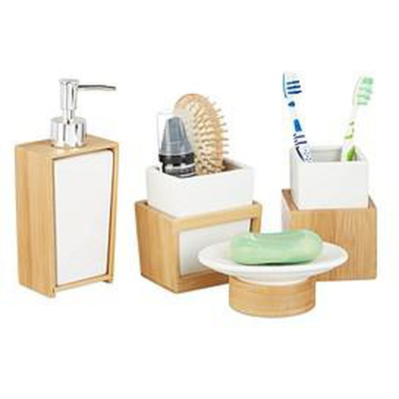 relaxdays Badaccessoires-Set   braun
