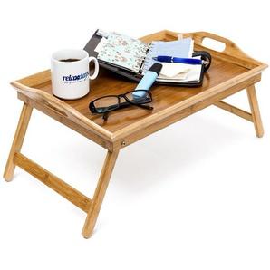Relaxdays Betttablett Bambus H x B x T: ca. 25 x 52 x 33 cm Betttisch als Frühstückstablett oder Beistelltisch Serviertablett mit Tragegriffen Tabletttisch klappbar und pflegeleicht Tablett, natur