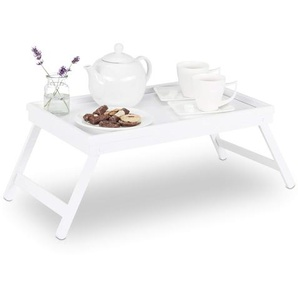 Relaxdays Betttablett Bambus, klappbare Beine, erhöhter Rand, Tablett zum Frühstücken & Servieren, HBT: 22x64x31cm, weiß