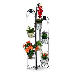 Relaxdays Blumenständer Metall Paravent