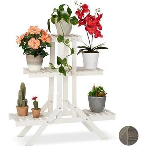 Relaxdays Blumentreppe Holz mit 3 Stufen