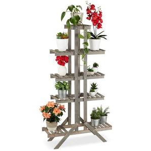 Relaxdays Blumentreppe Holz mit 5 Stufen