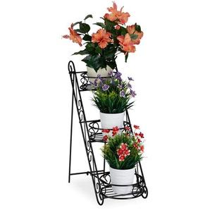 Relaxdays Blumentreppe Metall schwarz