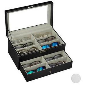 relaxdays Brillenbox schwarz 33,5 x 19,5 x 15,5 cm