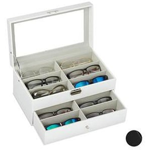 relaxdays Brillenbox weiß 33,5 x 19,5 x 15,5 cm