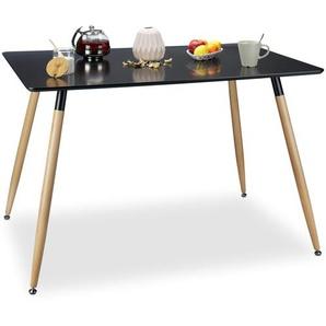 Relaxdays Esstisch schwarz ARVID, Holz, rechteckig, HxBxT: 75 x 120 x 80 cm, Beine natur, Gummi Untersetzer, black