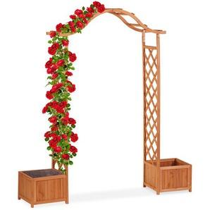 Relaxdays Holz-Rosenbogen mit 2 Pflanzkübeln