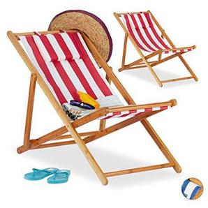 Relaxdays Liegestuhl im 2er Set, Klappliegestuhl aus Bambus, Stoffbezug mit Kissen, faltbar, für Garten & Balkon, rot