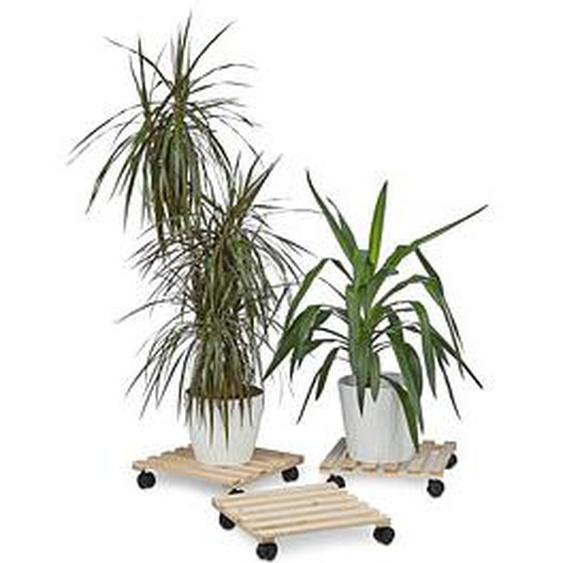 relaxdays   Pflanzenroller Holz 35,0 x 35,0 x 7,5 cm braun