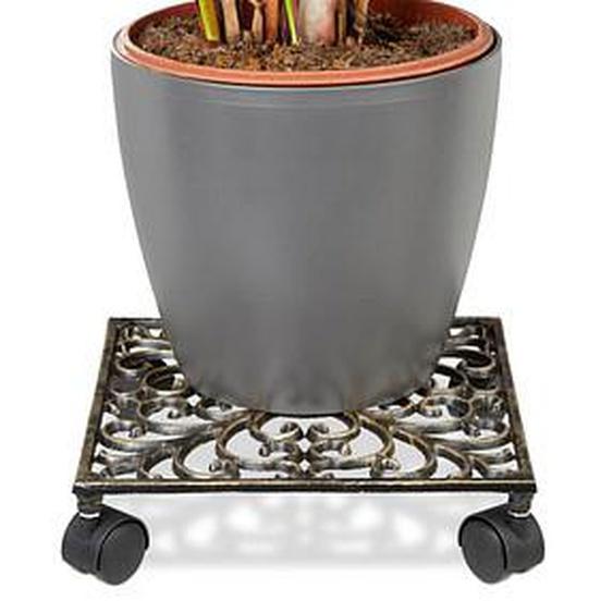 relaxdays   Pflanzenroller Metall 27,5 x 27,5 x 7,5 cm bronze