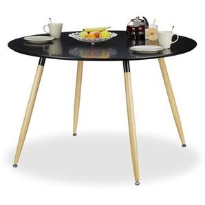 Relaxdays Runder Esstisch ARVID, groß, Holz, HxD: 75 x 120 cm, Beine natur, Gummi Untersetzer, schwarz