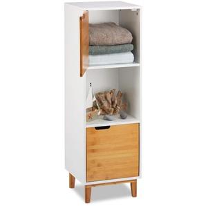 Relaxdays Standregal weiß, Beistellschrank aus MDF und Bambus, Wohnzimmerregal, skandinavisch, HBT 101x32x30 cm, White