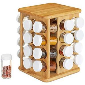 Relaxdays XXL Gewürzkarussell, drehbar, 32 Gewürzgläser, aromadichte Aufbewahrung, Gewürze Organizer, Bambus, natur
