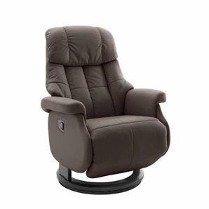 Relaxsessel aus Leder Braun manuell verstellbar
