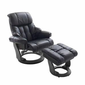 Relaxsessel aus Leder Schwarz mit Hocker (2-teilig)