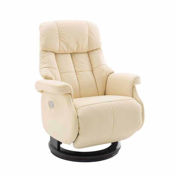 Relaxsessel in Creme Weiß Leder elektrisch verstellbar