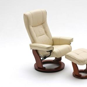 Relaxsessel in cremefarbenden Echtleder inkl. Hocker, Gestell honigfarben, Maße: B/H/T ca. 83/105/85-110 cm