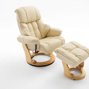 Relaxsessel in cremefarbenden Echtleder inkl. Hocker, Gestell natur, Maße: B/H/T ca. 90/104-89/91-122 cm