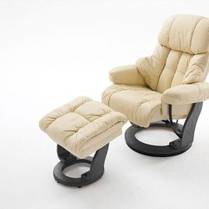 Relaxsessel in cremefarbenden Echtleder inkl. Hocker, Gestell schwarz, Maße: B/H/T ca. 90/104-89/91-122 cm