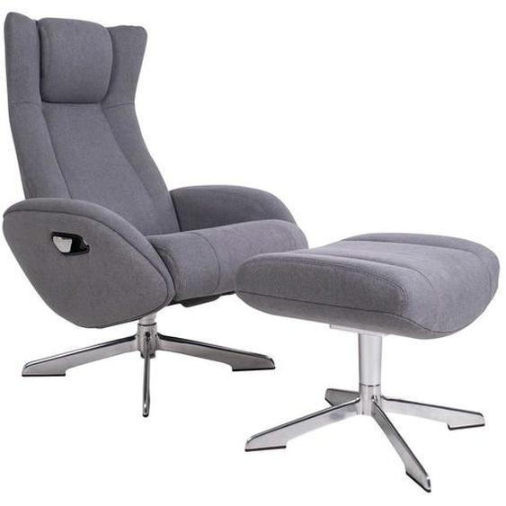 Relaxsessel in Grau Webstoff Fußhocker (2-teilig)