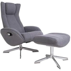 Relaxsessel in Grau Webstoff Fußhocker (zweiteilig)