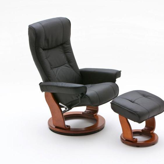 Relaxsessel in schwarzem Echtleder inkl. Hocker, Gestell honigfarben, Maße: B/H/T ca. 83/105/85-110 cm