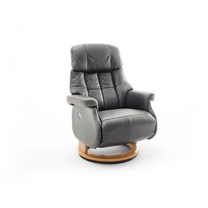 Relaxsessel-Komfort mit elektrischer Bedienung, in Echtleder schlamm, Gestell natur, Maße: B/H/T ca. 82/84-111/86-162 cm
