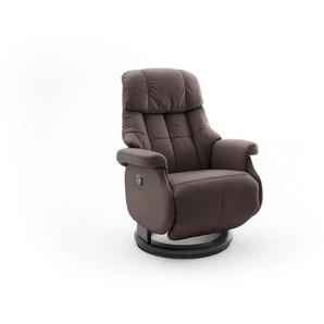Relaxsessel-Komfort mit manueller Bedienung, in braunem Echtleder, Gestell schwarz, Maße: B/H/T ca. 77/87-111/86-158 cm