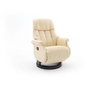 Relaxsessel-Komfort mit manueller Bedienung, in cremefarbenden Echtleder, Gestell schwarz, Maße: B/H/T ca. 77/87-111/86-158 cm