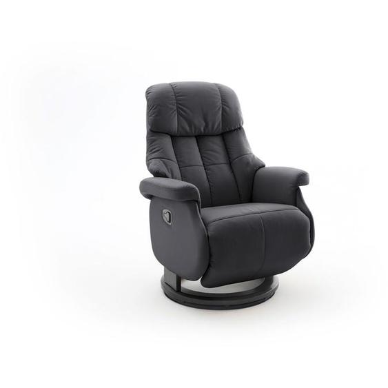 Relaxsessel-Komfort mit manueller Bedienung, in schwarzem Echtleder, Gestell schwarz, Maße: B/H/T ca. 77/87-111/86-158 cm