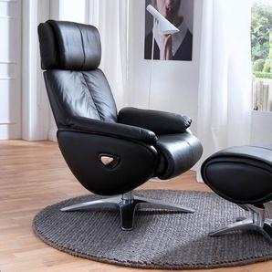 Relaxsessel mit Sitzfläche in schwarzem Echtleder, Rückseiten mit Kunstleder bezogen, inkl. Hocker, Gestell Metall, Maße Sessel: B/H/T ca. 84/109/82