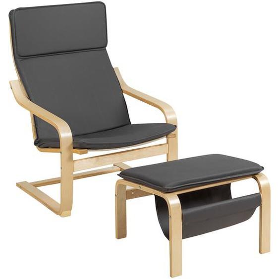 Relaxsessel Relaxstuhl Entspannungsstuhl Kippschutz mit Ottomane und Kissen Grau