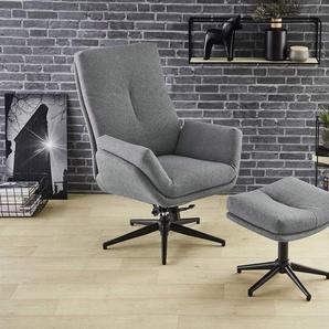 Relaxsessel Stoff dunkelgrau, inkl. Hocker, Maße Sessel: B/H/T ca. 72/103/82 cm, Maße Hocker: B/H/T ca. 49/38/39 cm