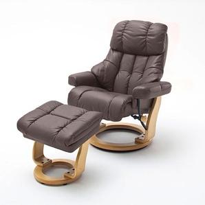 Relaxsessel XXL in braunem Echtleder inkl. Hocker, Gestell natur, Maße: B/H/T ca. 97/102-110/92-120 cm