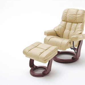 Relaxsessel XXL in cremefarbenden Echtleder inkl. Hocker, Gestell walnuss/nussbaum, Maße: B/H/T ca. 97/102-110/92-120 cm