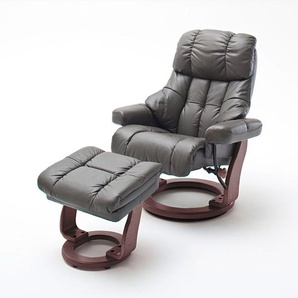 Relaxsessel XXL in Echtleder schlamm inkl. Hocker, Gestell walnuss/nussbaum, Maße: B/H/T ca. 97/102-110/92-120 cm